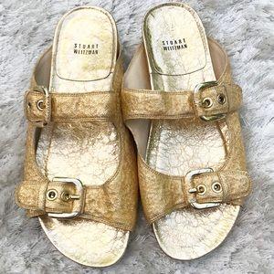 STUART WEITZMAN Freely Gold Oro Foil Nappa Slides